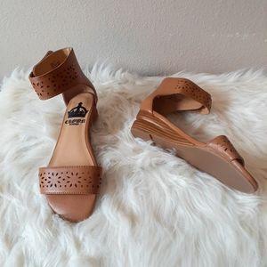 Crown Vintage Brown Ankle Strap Small Wedge Sandal
